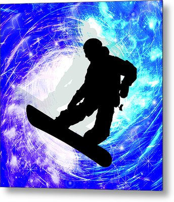 Snowboarder In Whiteout Metal Print by Elaine Plesser