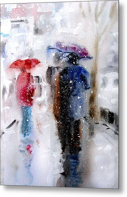 Snowing In The City Metal Print