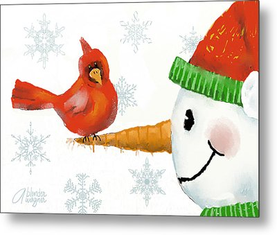 Metal Print featuring the digital art Snowman And The Cardinal by Arline Wagner