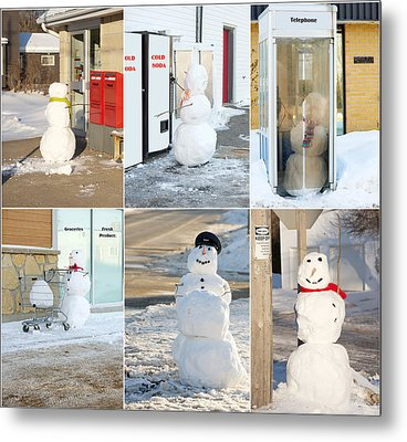 Snowmen Antics. Metal Print by Kelly Nelson