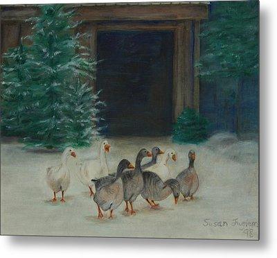Snowy Geese Metal Print by Susan Fuglem