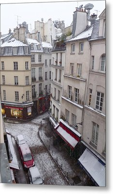 Snowy Morning Paris Latin Quarter Metal Print by Amelia Racca