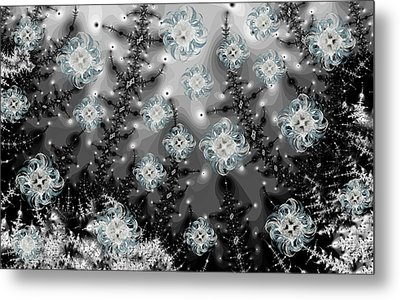 Snowy Night I Fractal Metal Print by Betsy Knapp