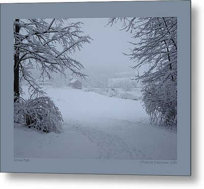 Snowy Path Metal Print by Patricia Overmoyer