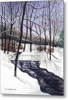 Snowy Shawnee Stream Metal Print by Clara Sue Beym