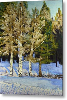 Snowy Sunset Aspen Metal Print