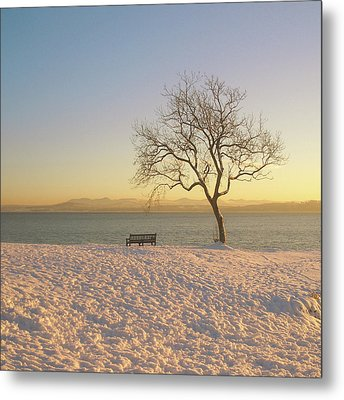 Snowy Winter Sunset Over The River Forth Metal Print by David McAllister