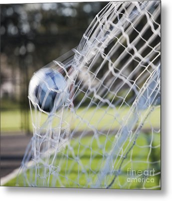 Soccer Ball In Goal Netting Metal Print by Jetta Productions, Inc