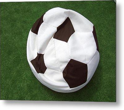 Soccer Ball Seat Cushion Metal Print by Matthias Hauser