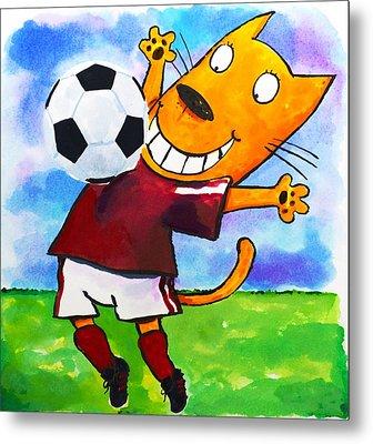 Soccer Cat 3 Metal Print by Scott Nelson