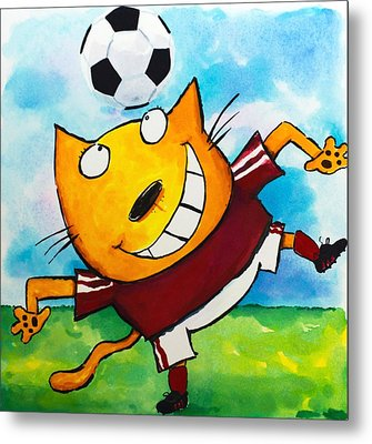 Soccer Cat 4 Metal Print by Scott Nelson