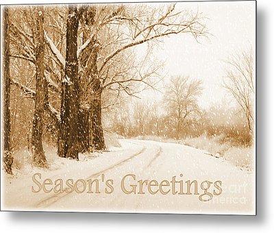 Soft Sepia Season's Greetings Card Metal Print by Carol Groenen