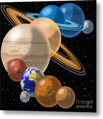 Solar System Metal Print by Mark Giles and Photo Researchers