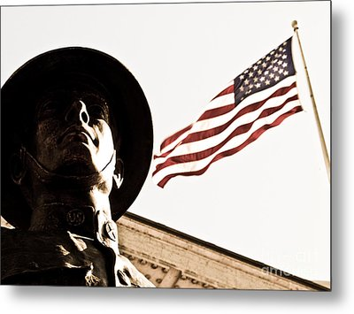 Soldier And Flag Metal Print by Syed Aqueel