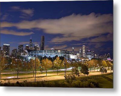 Soldier Field And Chicago Skyline Metal Print by Mike Thompson