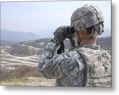 Soldier Observes An Adjust Fire Mission Metal Print by Stocktrek Images