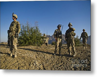 Soldiers Discuss A Strategic Plan Metal Print by Stocktrek Images