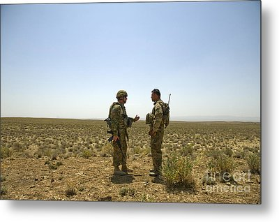 Soldiers Discuss, Drop Zone Metal Print by Stocktrek Images