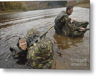 Soldiers Participate In A River Metal Print
