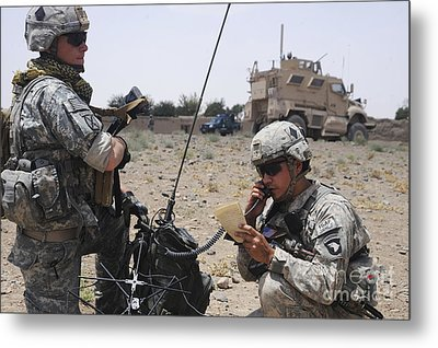 Soldiers Setting Up A Satellite Metal Print by Stocktrek Images