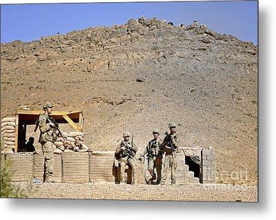 Soldiers Wait For Afghan National Metal Print by Stocktrek Images