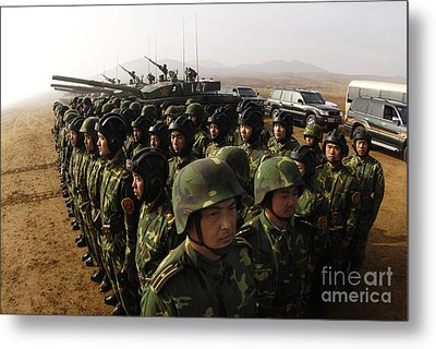 Soldiers With The Peoples Liberation Metal Print by Stocktrek Images