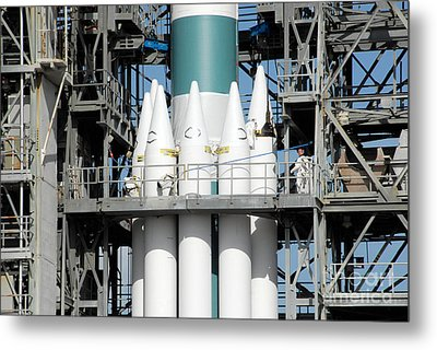 Solid Rocket Boosters Are Attached Metal Print by Stocktrek Images
