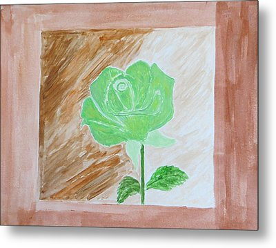 Metal Print featuring the painting Solitary Rose by Sonali Gangane