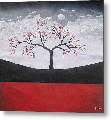 Solitary Tree-oil Painting Metal Print by Rejeena Niaz