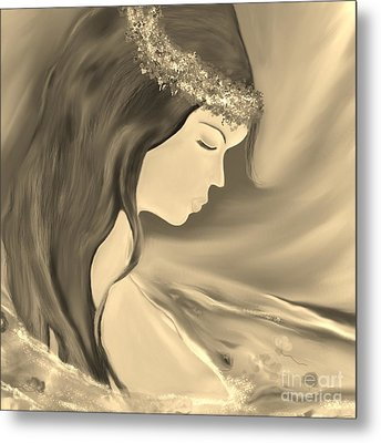 Metal Print featuring the drawing Solitude     Black And White by Lori  Lovetere