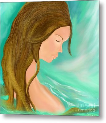 Metal Print featuring the drawing Solitude 1 by Lori  Lovetere