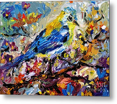 Songbird Blue In A Tree Metal Print by Ginette Callaway