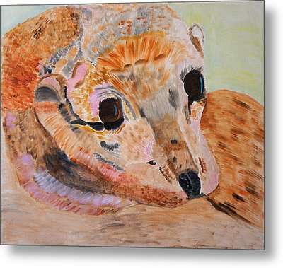 Metal Print featuring the painting Soulful Eyes Of A California Sealion by Meryl Goudey