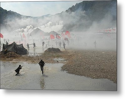 South Korean Soldiers Dressed As North Metal Print by Everett