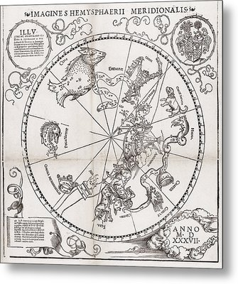 Southern Hemisphere Star Chart, 1537 Metal Print by Middle Temple Library