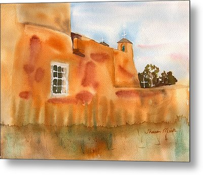 Metal Print featuring the painting Southwest Walled Monastery by Sharon Mick