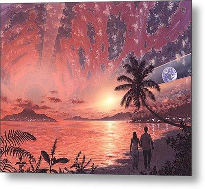 Space Colony Holiday Islands, Artwork Metal Print by Richard Bizley