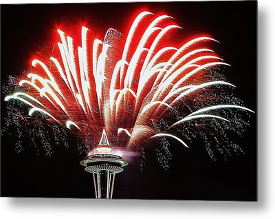 Space Needle Fireworks Metal Print by Benjamin Yeager