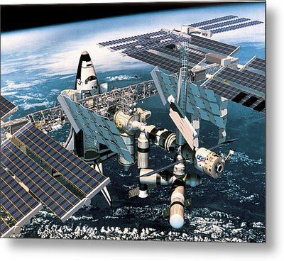 Space Shuttle Docked At The Space Station In Outer Space Metal Print by Stockbyte