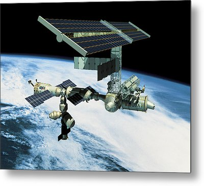 Space Station In Orbit Metal Print by Stockbyte
