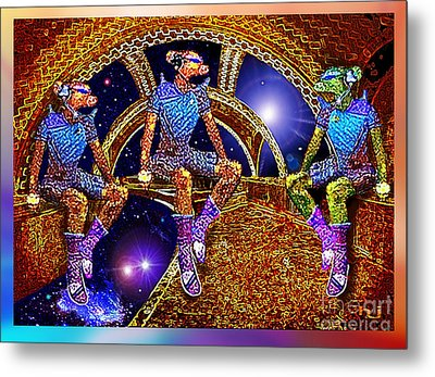 Metal Print featuring the mixed media Space Travellers by Hartmut Jager