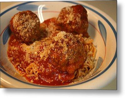 Spaghetti And Meatballs Metal Print by Anne Babineau