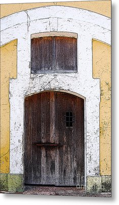 Spanish Fort Door Castillo San Felipe Del Morro San Juan Puerto Rico Prints Poster Edges Metal Print by Shawn O'Brien