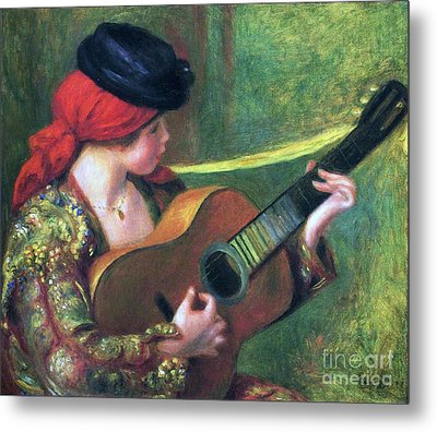 Spanish Girl With Guitar Metal Print by Pg Reproductions