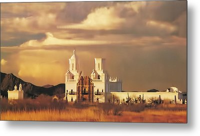 Metal Print featuring the digital art Spanish Mission by Walter Colvin