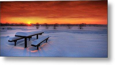 Spectaculat Winter Sunset Metal Print by Jaroslaw Grudzinski