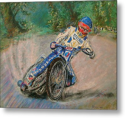 Metal Print featuring the painting Speedway Rider Edinburgh Monarchs by Richard James Digance