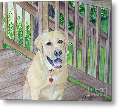 Metal Print featuring the painting Spencer On Porch by Carol Flagg