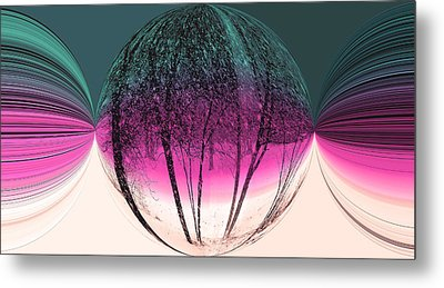 Spherical Snowstorm Metal Print