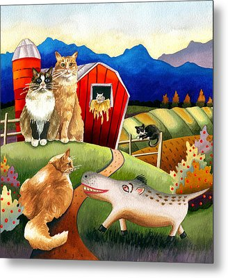 Spike The Dhog Meets Some Well Fed Barncats Metal Print by Anne Gifford